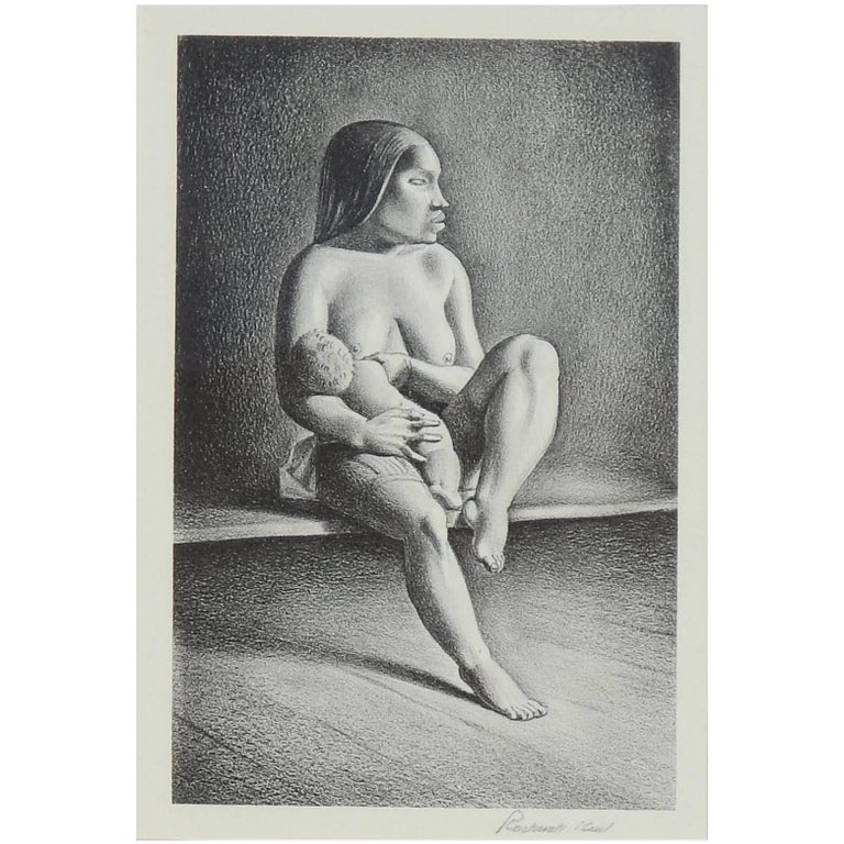 Rockwell Kent Pencil Signed Lithograph, 1934, Greenland Mother, Nursing Child For Sale