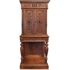 Antique Italian Petite Hand-Carved Walnut Petite Cabinet on Stand
