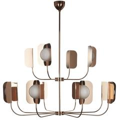 Outstanding 'Leaf' Chandelier with a Polished Copper Finish