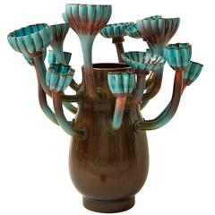 Ornamental 'Flora' Vase with Shades of Brown and Turquoise
