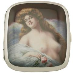 Antique German Silver and Erotica Enamel Cigarette Case