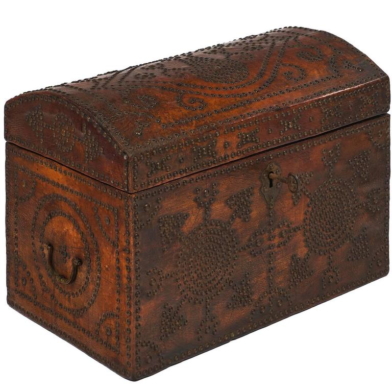 Napoleon III Period 19th Century French Leather Box For Sale
