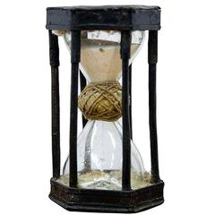 Extremely Rare German Iron Caged Hourglass, circa 1720