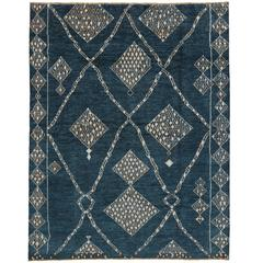 Modern Blue Moroccan Style Rug with Contemporary Tribal Design