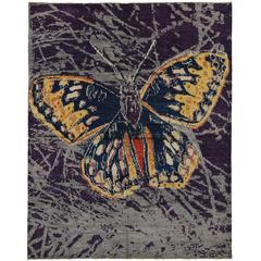 Contemporary Abstract Style Area Rug with Callippe Silverspot Butterfly