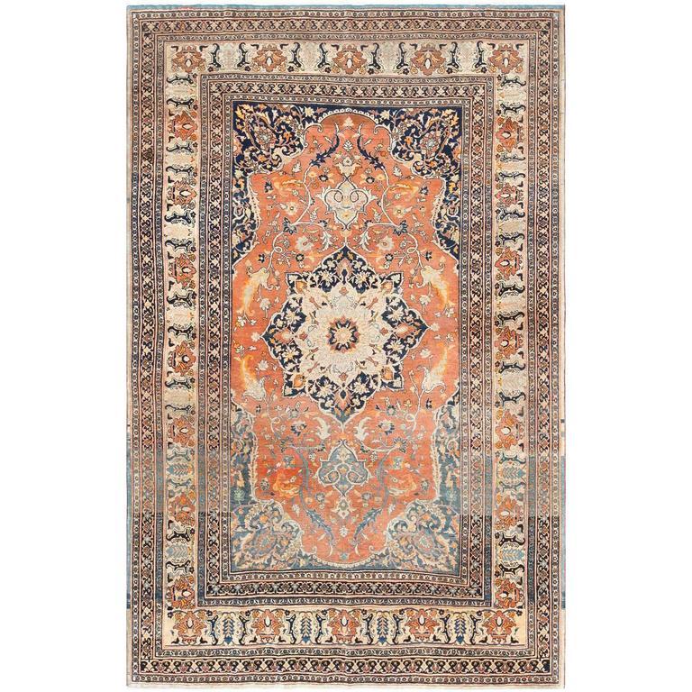 Antique Haji Jalili Persian Tabriz Rug