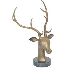 Decorative Bronze Statue Deer Head Attributed to Redmile