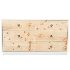 Lacquered Storage Dresser in White with Burl Wood Drawers & Lucite Hardware