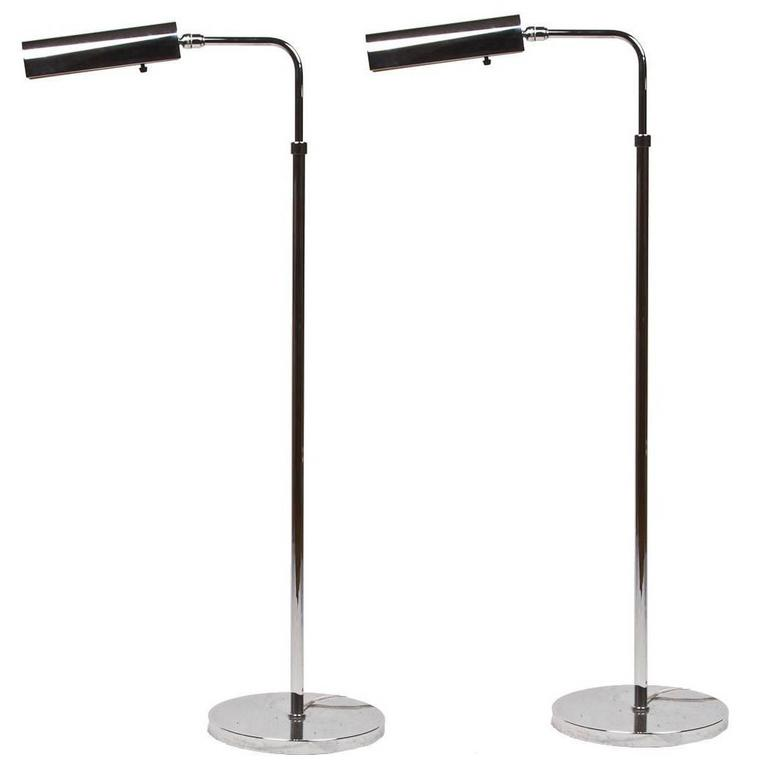 Pair of Contemporary Design Chrome Standing Lamps