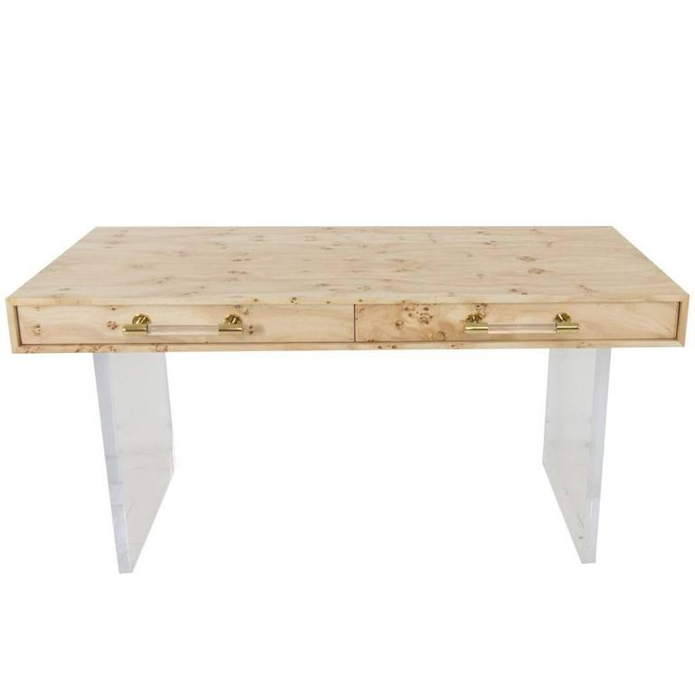 Mid Century Style Burl Wood Desk With Lucite Legs And Brass Pulls For
