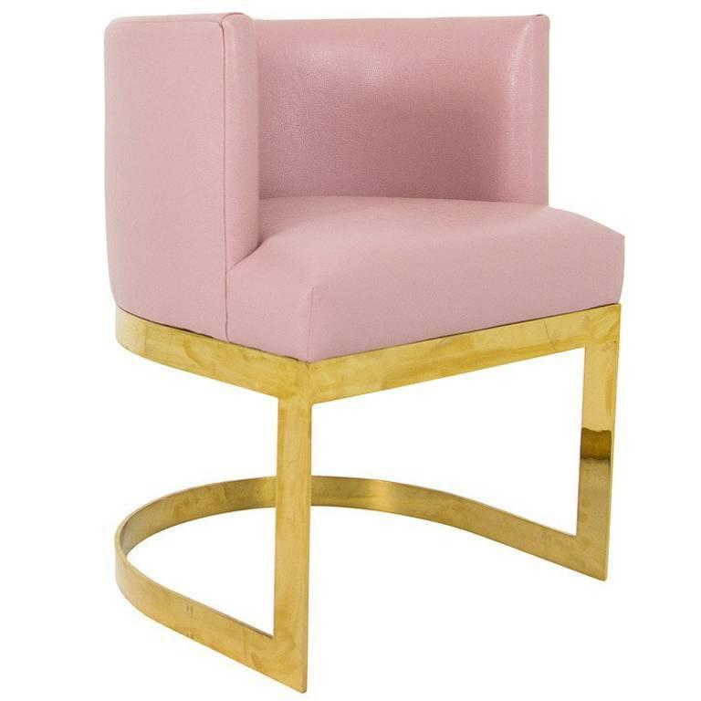 Accent Dining Chair In Blush Pink Faux Leather With Curved Brass Base For  Sale