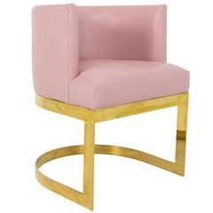 Accent Dining Chair in Blush Pink Faux Leather with Curved Brass Base