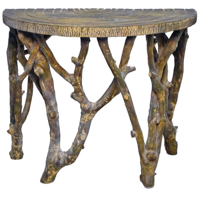 Faux Tree Branch Demilune Console Table For Sale