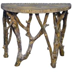 Faux Tree Branch Demilune Console Table