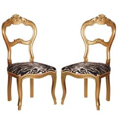 Pair of Italian 19th Century Walnut Giltwood Side Chairs with New Upholstery