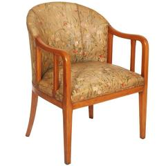 Early 20th Century Art Deco Walnut Armchair in Jules Leleu Manner