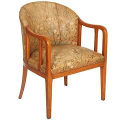 Early 20th Century Art Deco Walnut Armchair in Jules Leleu Manner