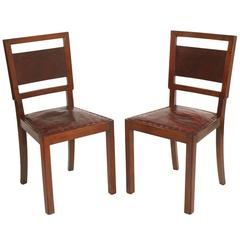 Chairs of the Futurist Period, Walnut with Era Leather and the Back Walnut Burl