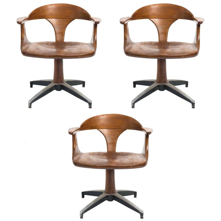Three 1960s Wood Office Chairs