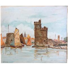 'The Port of La Rochelle', Oil on Board, Signed Dubois, France, circa 1935