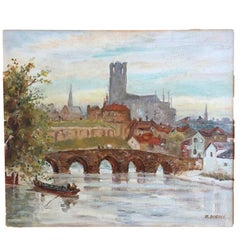 Cathedral Town, Oil on Board, Signed Dubois, French, circa 1935