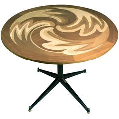 Exclusive 'Atom' Wood Inlay Table with a Natural Finish