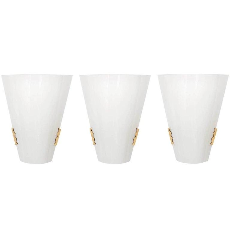 Three Brass and Opal Glass Sconces Wall Lights by J.T. Kalmar, Austria, 1970s