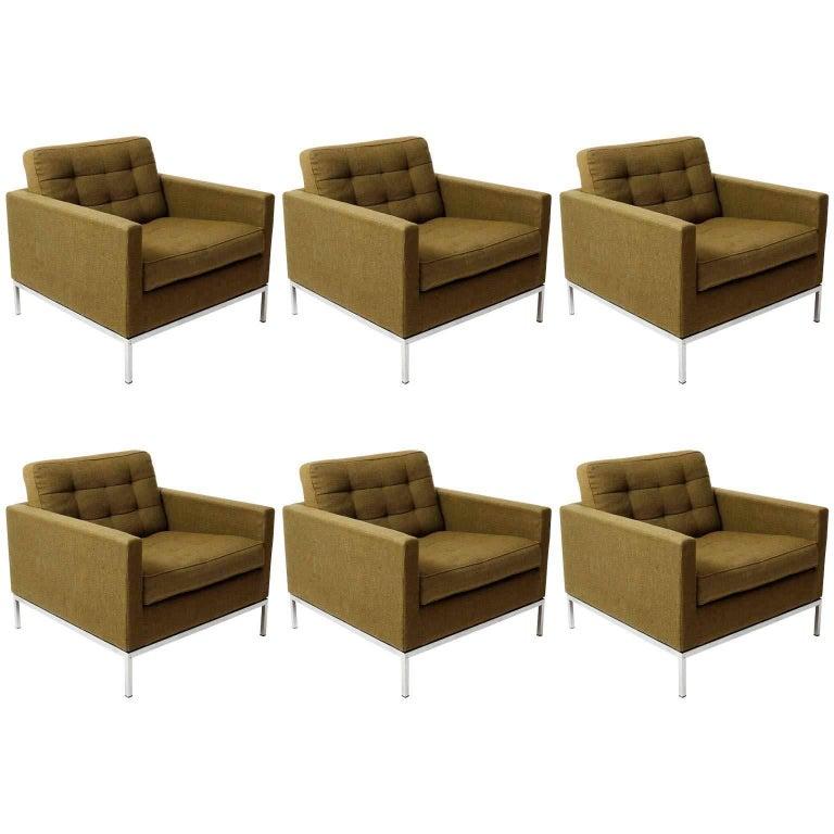 Set of Six Green Florence Knoll Lounge Chairs 1205 S1, Knoll International, 1954