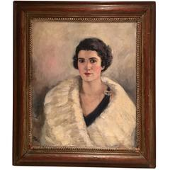 Mid-Century Original Oil on Canvas Female Portrait Painting by H. Pink
