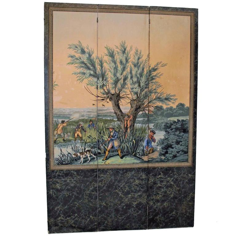 19th Century English Papier Peints Wallpaper Panels Screen 1