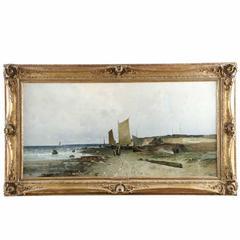 Fine Barbizon Seascape Painting by Eduard Fischer German, 1852-1905