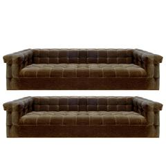 Edward Wormley Matching Pair of Biscuit Tufted Arm & Back Sofas, 1954