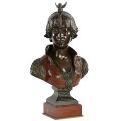 "Fine Art Nouveau Cold-Painted Bronze Bust ""Bianca"" by Cesare Ceribelli"