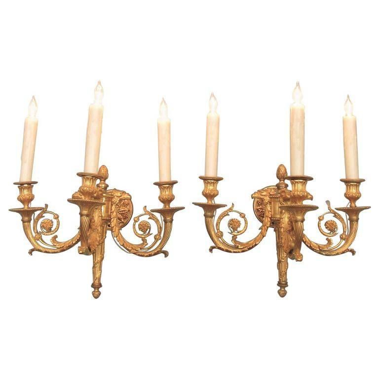 Pair of 19th Century French Empire Bronze Dore Sconces with Exceptional Casting For Sale