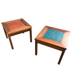 Pair of Mid-Century California Modern Brown Saltman John Keal Enamel Tables