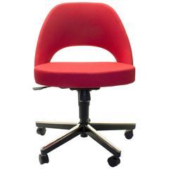 Red Eero Saarinen Adjustable Swivel Office Task Chair by Knoll, USA