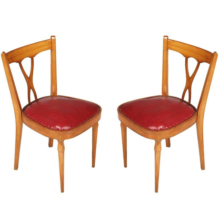 Italian Mid-Century Modern Side Chairs designer Melchiorre Bega attributed For Sale