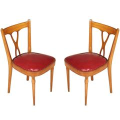 Mid-Century Modern Pair of Side Chairs Melchiorre Bega Style