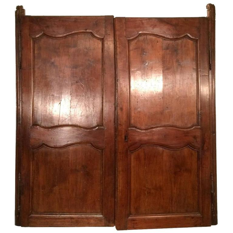 18th Century Antique French Walnut Window Blind Doors Ca 1760