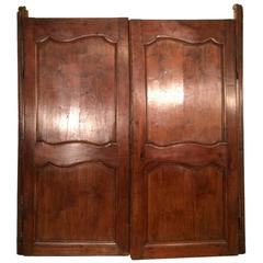 18th Century Antique French Walnut Window Blind Doors Ca 1760