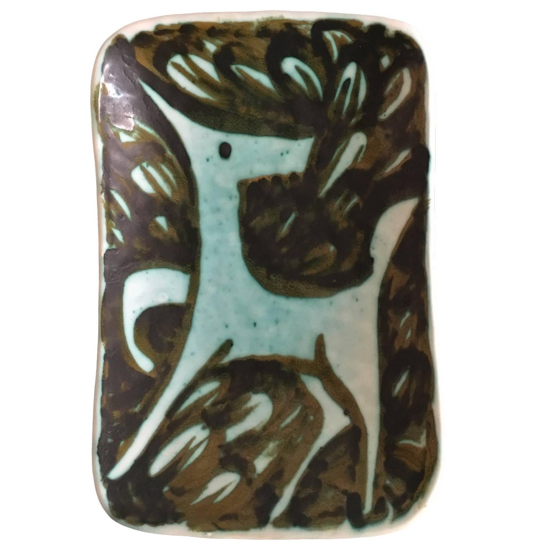 Signed Alessio Tasca Blue Green Wall Plate of Stylised Horse 1950s