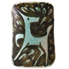 Signed Alessio Tasca Wall Plate with Stylised Horse, Italy, circa 1958