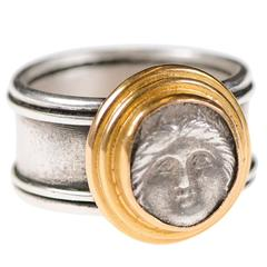 Authentic Greek Apollonia Pontika Coin, Silver and 22-Karat Gold Banded Ring