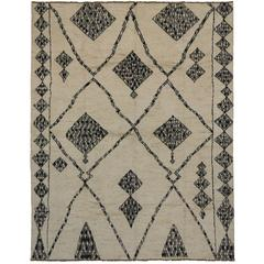 New Moroccan Style Rug with Contemporary Modern Tribal Design, Black and Ivory
