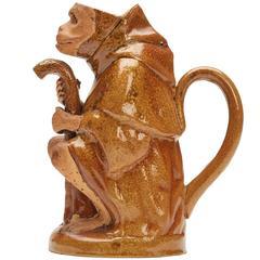 Salt Glazed Seated Monkey Teapot 19th Century