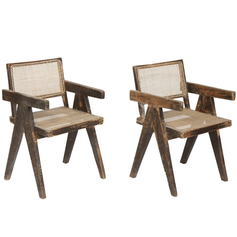 Pierre Jeanneret, Set of Two Armchairs Called Office Cane Chairs For Sale