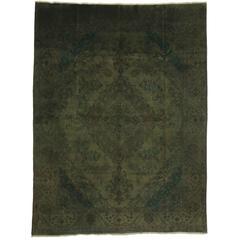 Vintage Persian Tabriz Rug Overdyed Green Rug with Modern Style