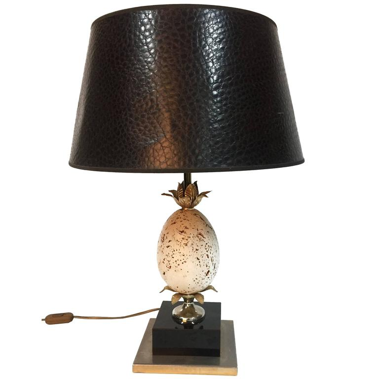 Stunning 1970s Ostrich Egg Table Lamp