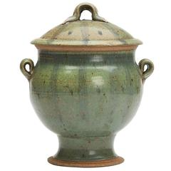 Vintage Studio Pottery Twin Handled Green Lidded Urn, 20th Century