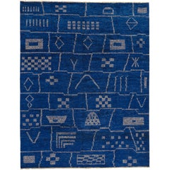 Contemporary Moroccan Style Area Rug in Cobalt Blue with Tribal Style